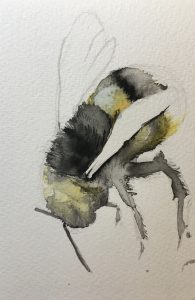 Flying Bee painted by Ashley Wilks Art